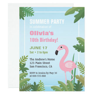 Convite de aniversário tropical do verão do