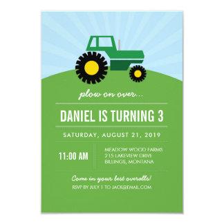Convite de aniversário verde do trator