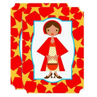 Convite de aniversário vermelho da menina da capa