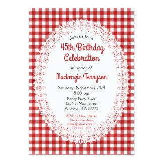 Convite de aniversário vermelho do guingão do país