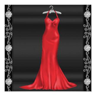 Convite de aniversário vermelho do vestido