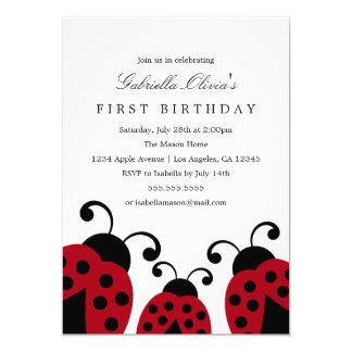 Convite de aniversário vermelho dos joaninhas |