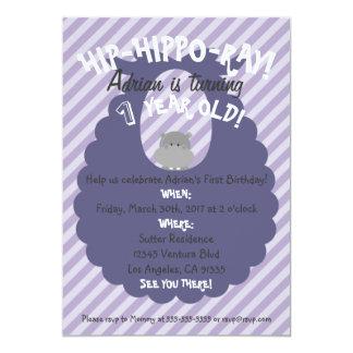 Convite de Bday do Quadril-Hipopótamo-Raio roxo