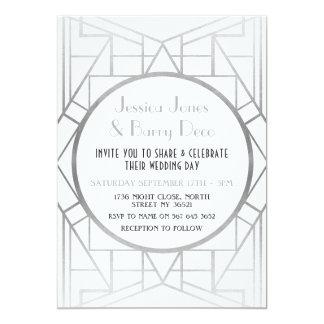 convite de casamento 20s de prata de Gatsby do art