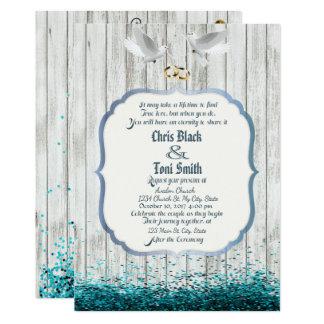Convite de casamento afligido da madeira & das