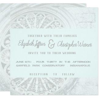 Convite de casamento azul cinzento e fraco