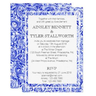 Convite de casamento azul e do branco do papel