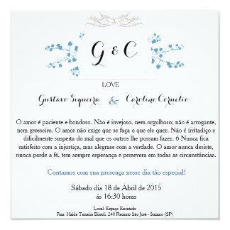 Convite de Casamento Azul Pássaros do Amor Convite Quadrado 13.35 X 13.35cm