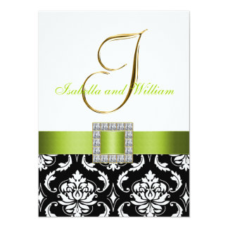Convite de casamento branco preto verde da inicial