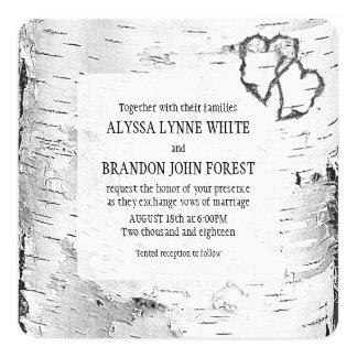 Convite de casamento cinzelado do latido de árvore