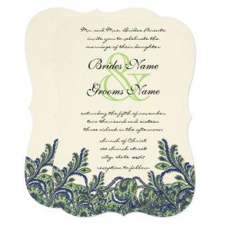 Convite de casamento cortado da pena do verde de