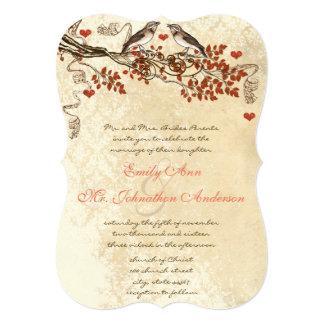 Convite de casamento cortado rústico do pássaro do