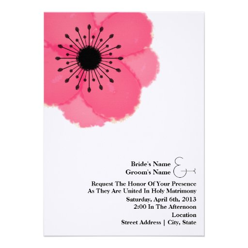 Convite de casamento da anêmona do rosa quente da