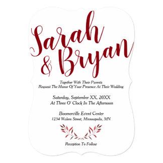 Convite de casamento da caligrafia com folhas da