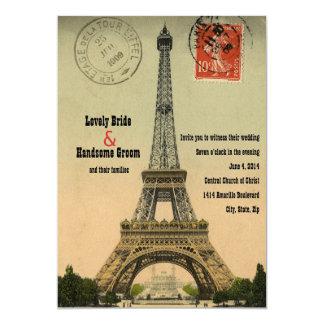 Convite de casamento da torre Eiffel do cartão de