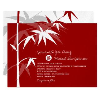 Cartão Convite de casamento de bambu asiático chinês
