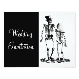 Convite de casamento de esqueleto do gótico do