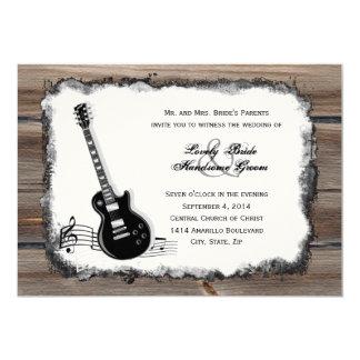 Convite de casamento de madeira da música da