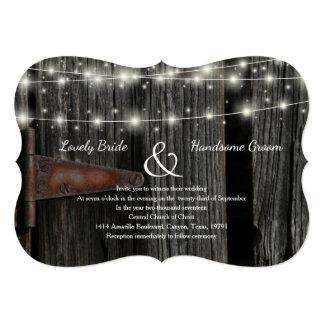 Convite de casamento de madeira das luzes