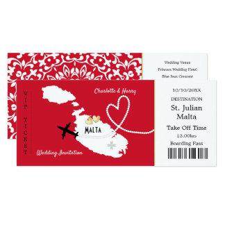 Cartão Convite de casamento de Malta da passagem de