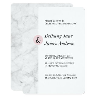 Convite de casamento de mármore clássico