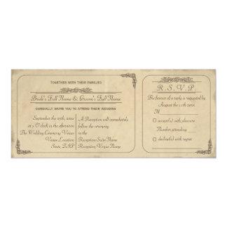 Convite de casamento do bilhete do pergaminho do