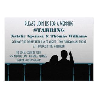 Convite de casamento do cinema, azul