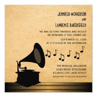 Convite de casamento do gramofone do vintage do