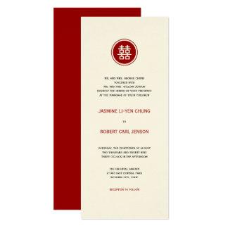 Convite de casamento dobro vermelho do chinês da