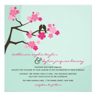 convite de casamento dos pássaros do amor das flor
