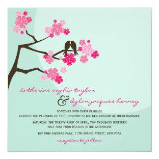 Convite de casamento dos pássaros do amor de