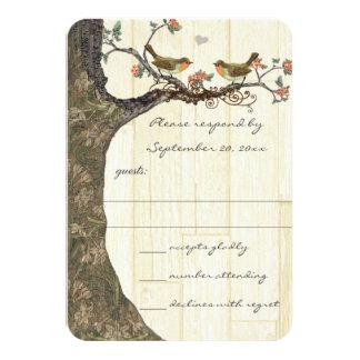 Convite de casamento dos pássaros do vintage do