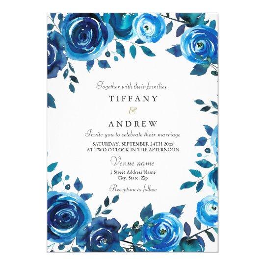 Convite de casamento floral azul da meia-noite da | Zazzle ...