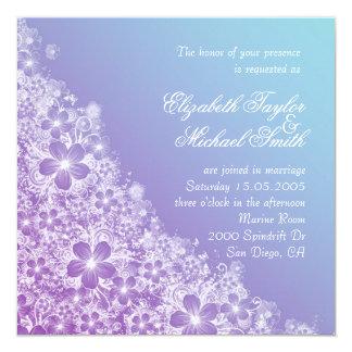 Convite de casamento floral azul roxo luxuoso do