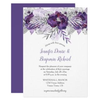 Convite de casamento floral cinzento da lavanda