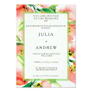 Convite de casamento floral da aguarela do abricó