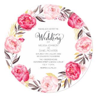 Convite de casamento floral da grinalda das