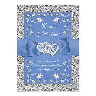 Convite de casamento floral de prata azul da folha