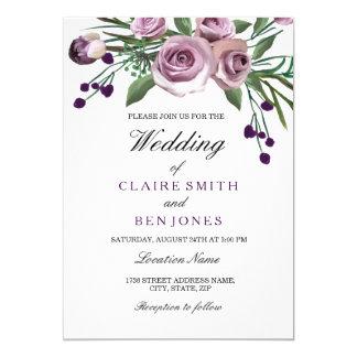 Convite de casamento floral do rosa romântico do