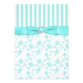 Convite de casamento floral listrado azul e branco