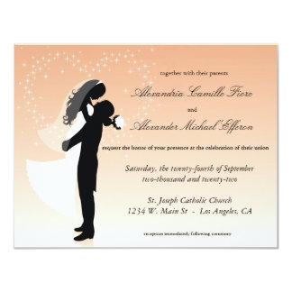 Convite de casamento formal da silhueta de Ombre Convite 10.79 X 13.97cm