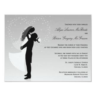 Convite de casamento formal da silhueta de prata