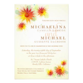 Convite de casamento formal floral colorido retro