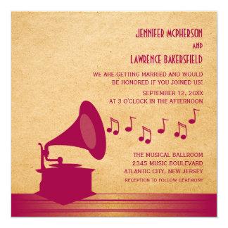 Convite de casamento fúcsia do gramofone do