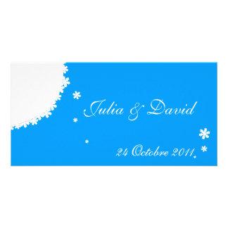 Convite de casamento inverno derrete azul