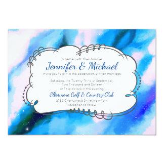 Convite de casamento marmoreado azul do abstrato
