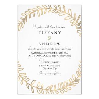Convite de casamento moderno da grinalda dourada
