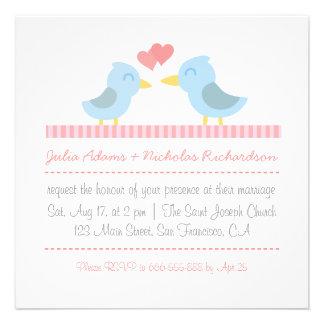 Convite de casamento: Pares bonitos de pássaros az