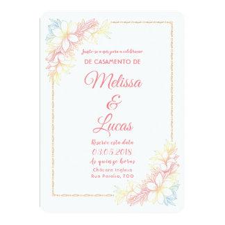Convite de Casamento personalizável com flores.