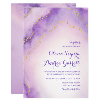 Convite de casamento pintado da ágata aguarela